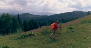 Young man with backpack and pole hiking