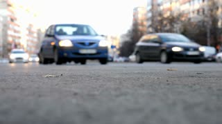 Blured cars driving on the streets of the city