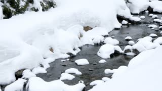 Close up on river in winter mountains. Travel and adventure