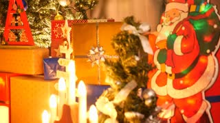 Crane shot on beautiful Christmas tree in the living room. Seasonal and holidays