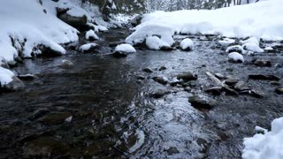 Panning down on a mountain river in winter
