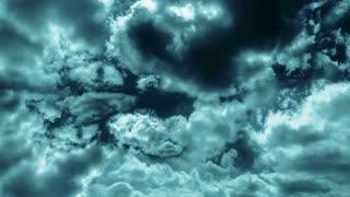 Storm dark clounds in cinematic color grading