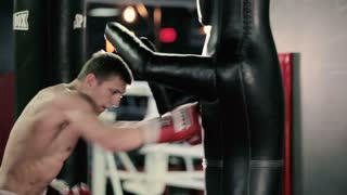 An athlete trains in the boxing gym