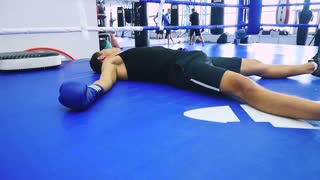 Boxer lying in the ring