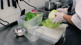 Cook cleans a head of cabbage