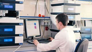 Laboratory worker conducting research