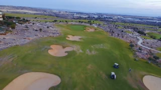 Aerial view of green golf course