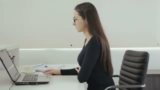 Attractive businesswoman work in the office