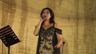 Beautiful adult woman singing at the stage in restaurant