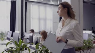 Beautiful businesswoman with folder in the office