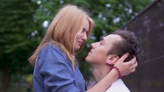 Beautiful couple in love in the park
