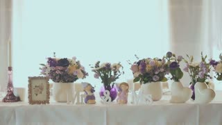 Beautiful decorative table with flowers at wedding