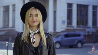 Beautiful girl in black hat