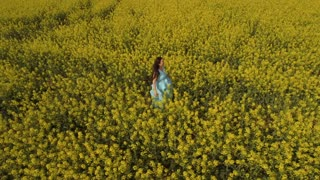 Beautiful woman in blue dress walks among yellow flowers at the field