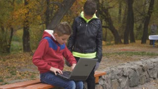 Brother tries to distract his brother from laptop to play together in park