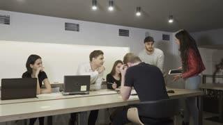 Business team discusses work