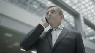 Businessman talks on phone in the airport