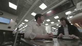 Businesspeople have a conversation in the airport lifestyle