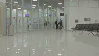 Businesspeople walk in the airport hall