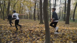 Children play catch-up in the forest