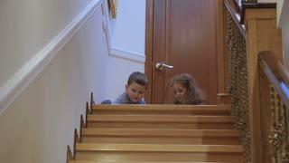 Children play near the stairway