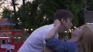 Couple in love in the park