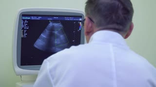 Doctor look at screen of ultrasound equipment