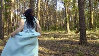 Elegance girl in blue dress walks in forest, Snow White fairytale