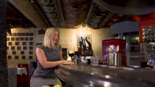 Elegance lonely woman drinks wine near bar counter