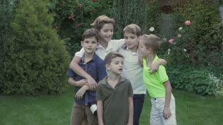 Family of five happy brothers
