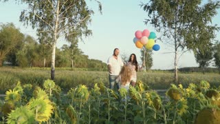 Family with balloons hugs at the sunflower field