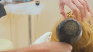 Hairdresser dries hair in beauty salon