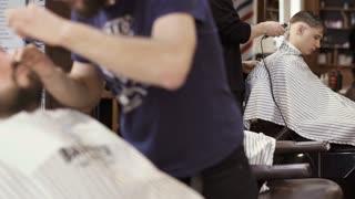 Hairdressers in barbershop