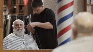 Hairstylist cuts gray hair of mature man in barbershop