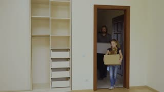 Happy family relocates in a new house