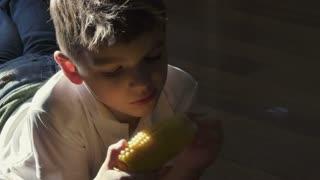 Little boy eat a corn in sunlights