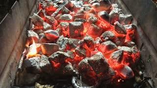 Live coals in close-up
