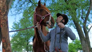 Man put on the bridle on horse's muzzle