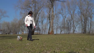 Mature woman walks in park with her little dog