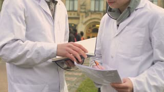 Medical students at campus background
