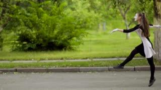 Mimes do funny jumping walk at the park