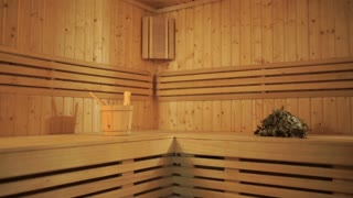 Modern interior of a wooden sauna