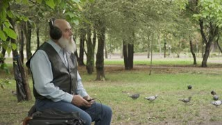 Old grey-haired man listens music on bench in park in headphones, slowmotion