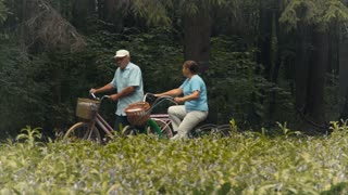 Old man and old woman have a good time riding on bicycles in the park