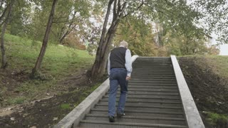 Old man is going up the stairs in park