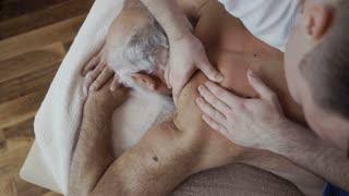 Old man relax during massage