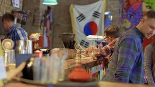 People in the Korean restaurant