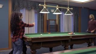 People start their billiard game
