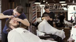 Professional barbers works in barbershop