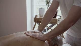 Professional masseur massages old man's back